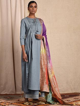 Blue Pleated Cotton Kurta with Gota