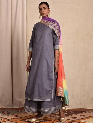 Purple Cotton Kurta with Gota