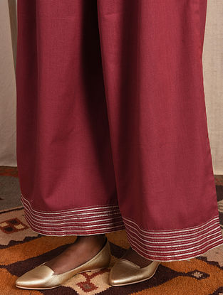 Red Elasticated-waist Cotton Pallazo with Gota