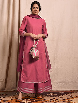 Pink Mangalgiri Cotton Kurta with Gota