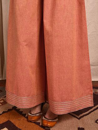 Orange Elasticated-waist Mangalgiri Cotton Palazzo with Gota