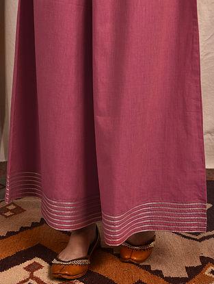 Pink Elasticated-waist Mangalgiri Cotton Palazzo with Gota
