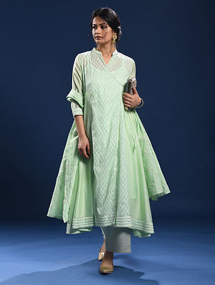 MARARI - Green Silk Cotton Cutwork Angrakha with Gota