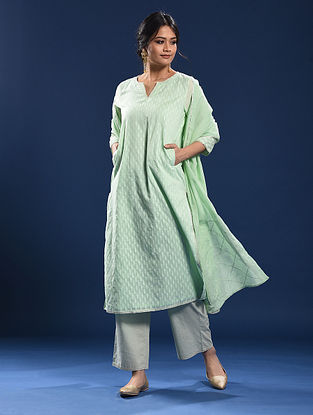 RADHANAGAR - Green Silk Cotton Cutwork Kurta with Gota