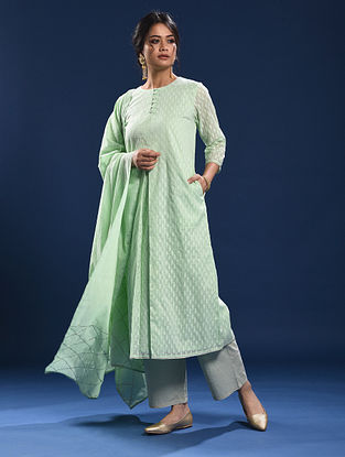 YARADA - Green Silk Cotton Cutwork Kurta with Gota