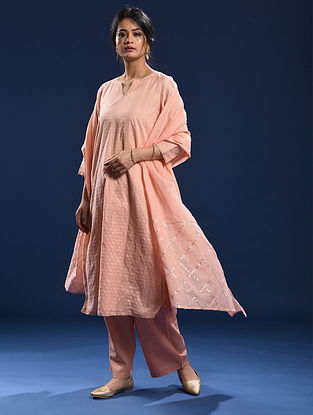 CHERAI - Peach Silk Cotton Cutwork Kurta with Gota