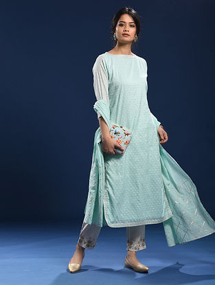 AGONDA - Blue Silk Cotton Cutwork Kurta with Gota