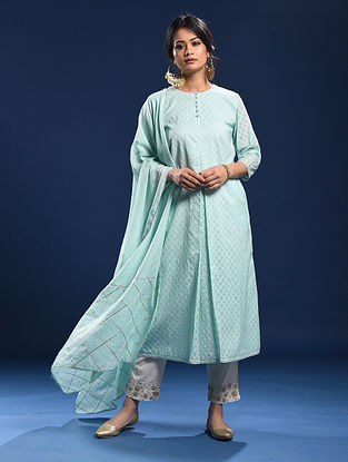 SHIRODA - Blue Silk Cotton Cutwork Kurta with Gota