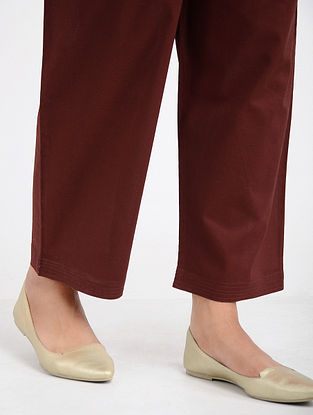 Maroon Tie-up Waist Cotton Pants