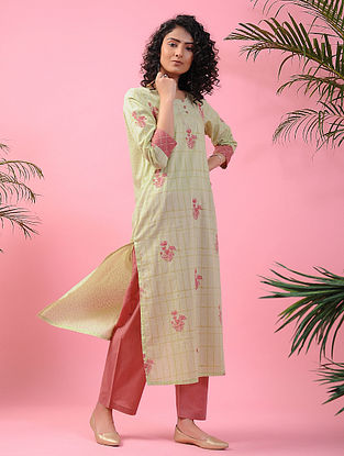 MEHTAB - Green-Pink Block-printed Cotton Kurta with Zari
