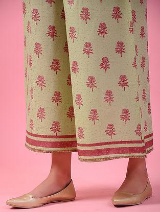 PINJORE - Green-Pink Elasticated-waist Block-printed Cotton Palazzos