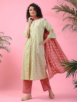 KHUSRO - Green-Pink Block-printed Cotton Kurta