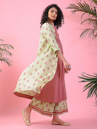ROSHANARA - Green-Pink Block-printed Front-open Cotton Kurta