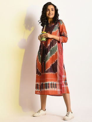 PSYCHEDELIC - Multicolor Handloom Cotton Dress with Gathers