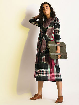 INCANDESCENT - Multicolor Handloom Cotton Dress with Gathers