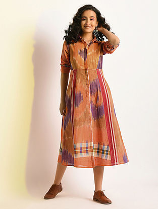 REFRACTION - Multicolor Button-down Handloom Cotton Dress