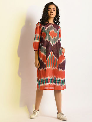MARBLED - Multicolor Handloom Cotton Dress with Pockets