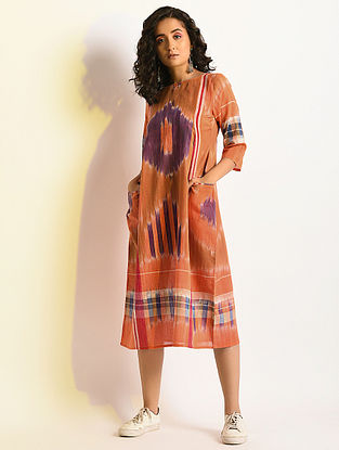 LUMINESCENT - Multicolor Handloom Cotton Dress with Pockets