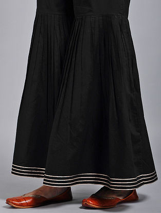 Black Elasticated-waist Cotton Sharara with Pleats