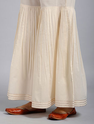 Ivory Elasticated-waist Cotton Sharara with Pleats