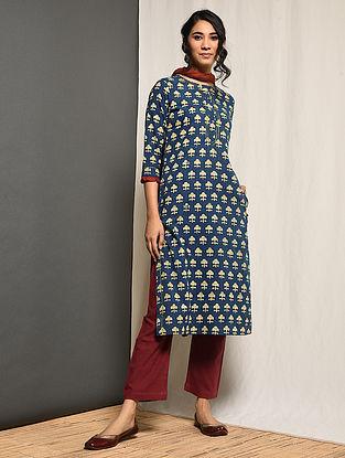 RUKHSANA - Indigo Block-printed Cotton Kurta with Gota