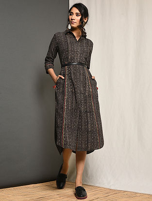YASMEEN - Grey Block-printed Cotton Dress with Pockets