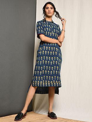 NASREEN - Indigo Block-printed Cotton Dress with Pockets
