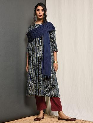 QAYNAAT - Indigo Block-printed Cotton Kurta with Gota
