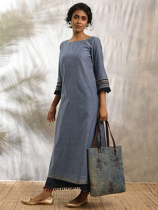 RUMANI - Blue Cotton Kurta with Raw Edge Hem and Top Stitch