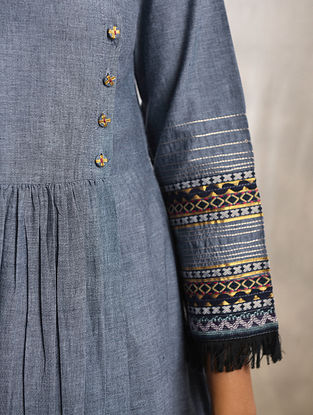 BANJAARA - Blue Cotton Kurta with Raw Edge Hem and Top Stitch