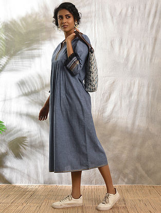 MUSAFIR - Blue Cotton Kurta with Raw Edge Hem and Top Stitch