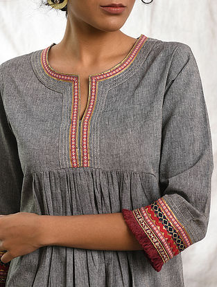 YATRI - Grey Cotton Kurta with Raw Edge Hem and Top Stitch