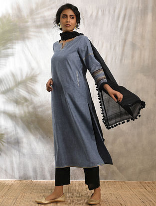 SAYAH - Blue Cotton Kurta with Raw Edge Hem and Top Stitch