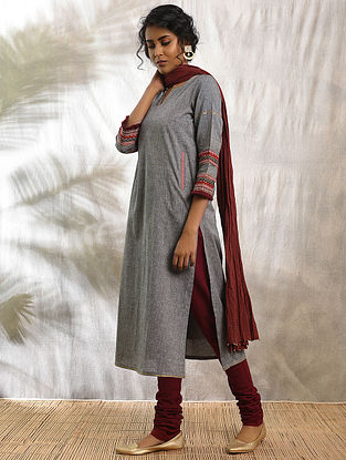 YAYAVAR - Grey Cotton Kurta with Raw Edge Hem and Top Stitch