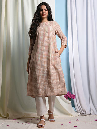 JAMILA - Peach-Ivory Handloom Cotton Kurta with Embroidery