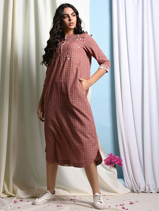 JOLIE - RUST Handloom Cotton Dress with Embroidery