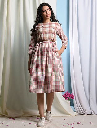 MOOI - Ivory-Pink Handloom Cotton Dress with Embroidery