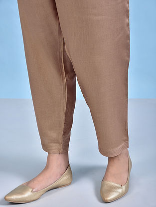 ZAR - Beige Tie-up Waist Modal Pants
