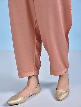 NURAFSHAN - Peach Tie-up Waist Modal Pants