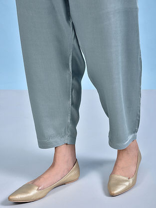 JHAMAK - Blue Tie-up Waist Modal Pants