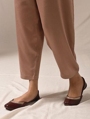 ANAVADYA - Beige Tie-up Waist Modal Pants