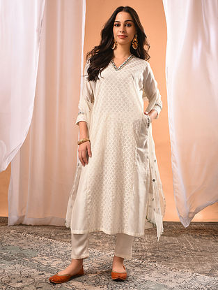 REVA - Ivory Embroidered Silk Cotton Kurta with Zari and Gota