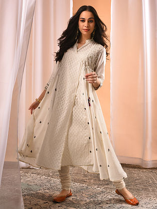VARSHA - Ivory Embroidered Silk Cotton Angrakha with Zari and Gota