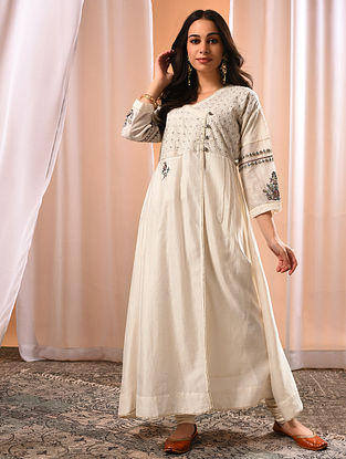 ALIZEH - Ivory Embroidered Silk Cotton Kurta with Zari and Gota
