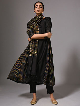 KRITTIKA - Black Silk Cotton Kurta with Zari (Set of 2)