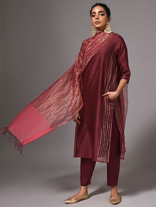 PUSHYA - Maroon Silk Cotton Kurta with Zari