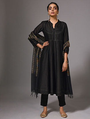 ANURADHA - Black Silk Cotton Kalidar Kurta (Set of 2)