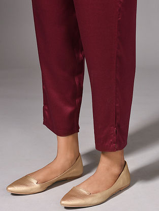 REVATI - Maroon Elasticated Waist Modal Pants
