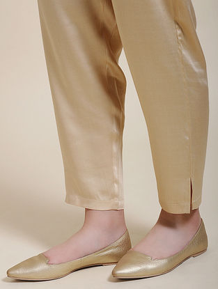 Beige Elasticated Waist Modal Pants