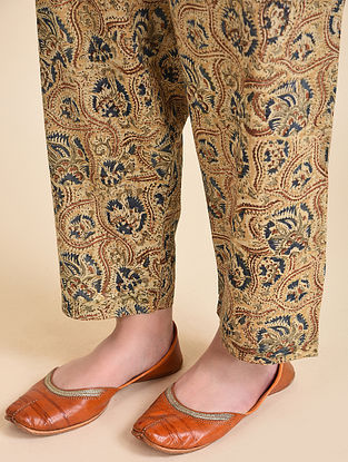 Multicolor Tie-up Waist Block Printed Kalamkari Pants